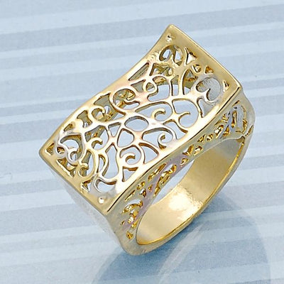 Gold Layered Women Elegant Ring, by Folks Jewelry