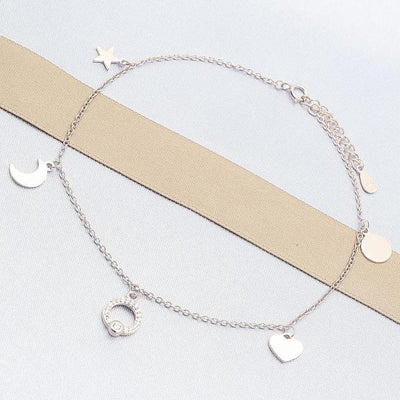 Sterling Silver Women Moon Charm Anklet , with White Cubic Zirconia, by Folks Jewelry
