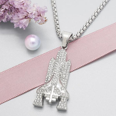 Stainless Steel Men Cross Pendant Necklace, with White Crystal, by Folks Jewelry