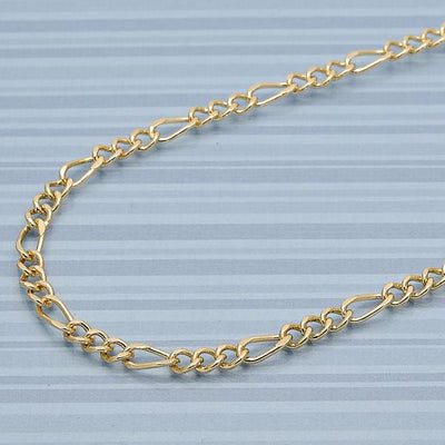 Gold Layered Men Figaro Concave Basic Necklace, by Folks Jewelry