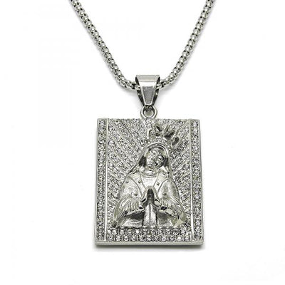 Stainless Steel Men Altagracia Pendant Necklace, with White Crystal, by Folks Jewelry