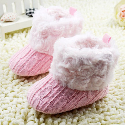 Crochet Knit Furry Top Boots