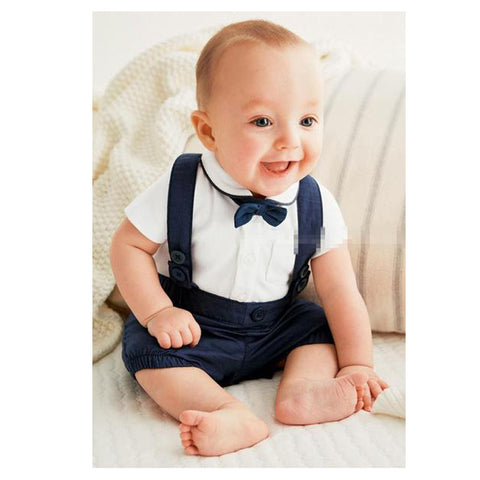 3-Piece Set: Gentleman Trousers, Shirt & Bowtie for Newborns