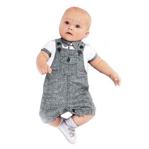 Gentleman Cotton T-Shirt & Overall Set for Newborns