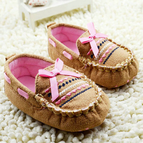 Handmade Crib Moccasins with Bows