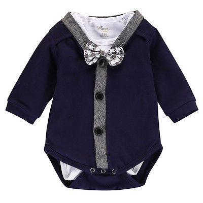 2-Piece Set: Gentleman Bow Cardigan Shirt & Long Sleeve Bodysuit