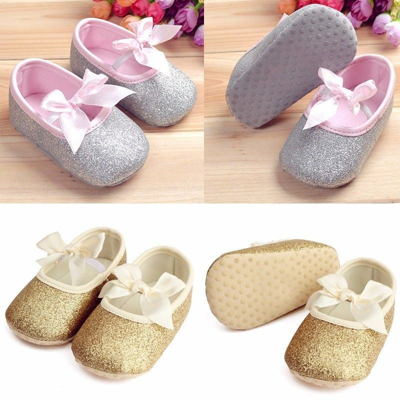 Glitter Ballet Flats with Bow