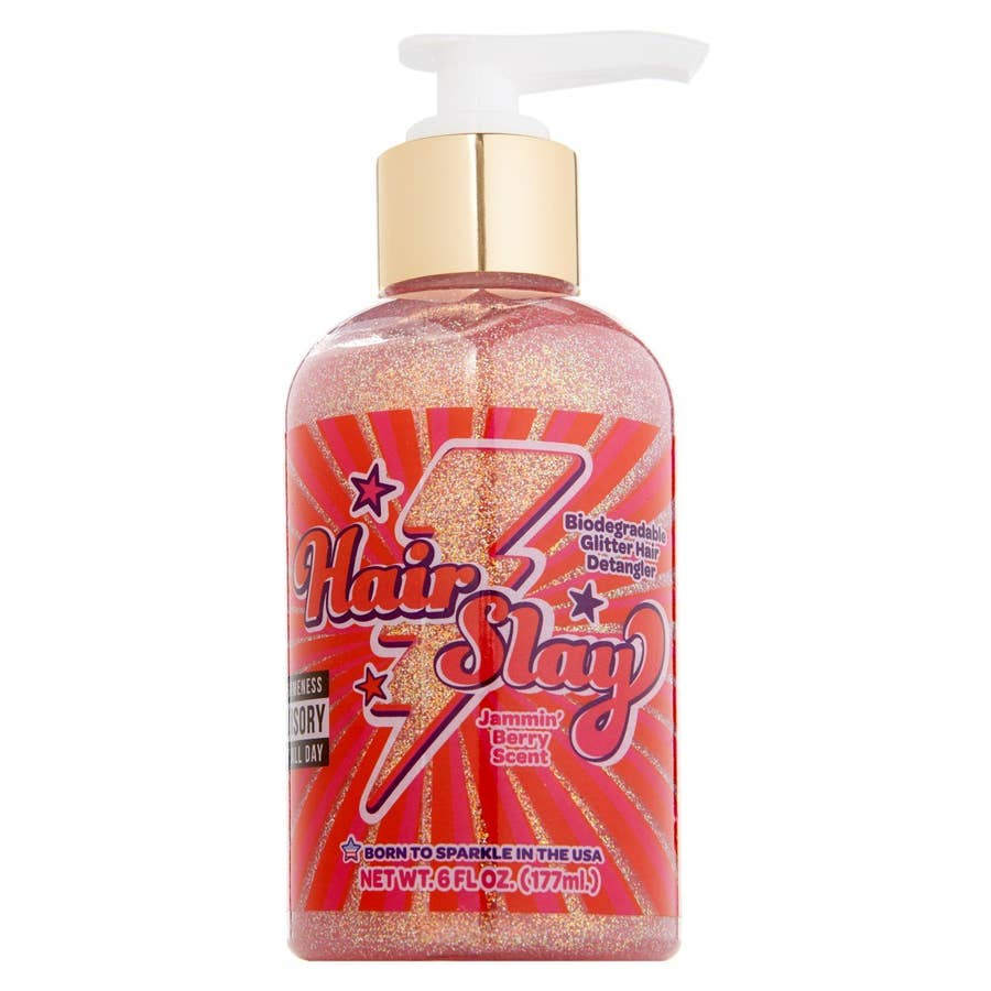 Hair Slay Pink Biodegradable Glitter Hair Detangler