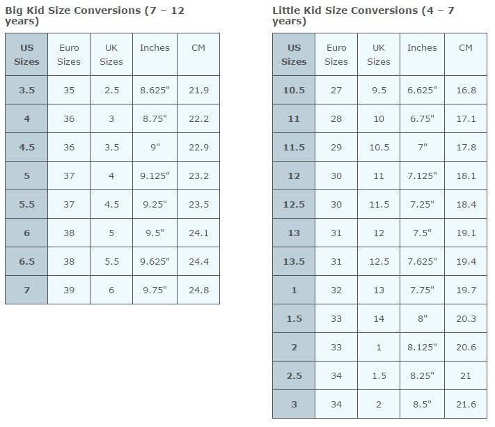 Sizing chart and size guide for cowboy boots measure in inches for