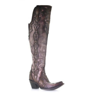 Women's Corral Leather Boots Handcrafted Chocolate - yeehawcowboy