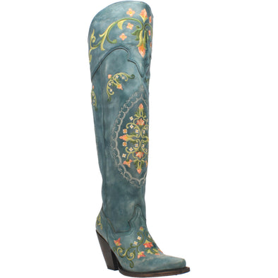 Women's Dan Post Flower Child Leather Boots Handcrafted Turquoise - yeehawcowboy