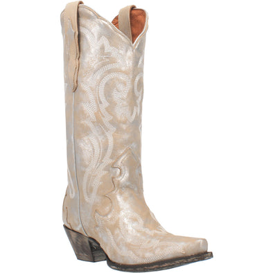 Women's Dan Post Frost Bite Leather Boots Handcrafted Silver - yeehawcowboy