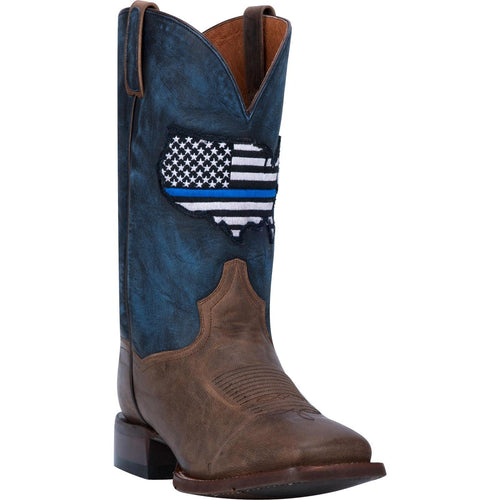 Men's Dan Post Thin Blue Line Leather Boots Handcrafted - yeehawcowboy