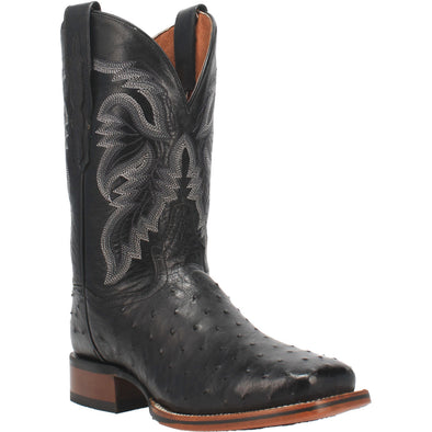 Men's Dan Post Alamosa Ostrich Boots Handcrafted Black - yeehawcowboy