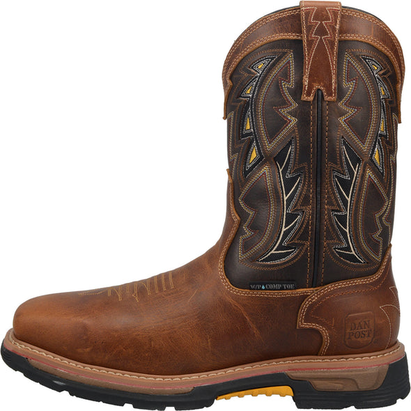 Men's Dan Post Warrior Work Boots Waterproof Brown - yeehawcowboy