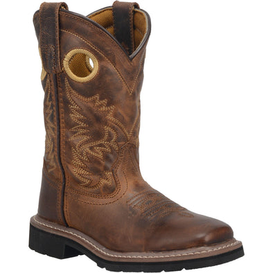 Kid's Dan Post Amarillo Leather Boots Handcrafted Brown - yeehawcowboy