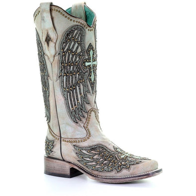 Women's Corral Western Boots Turquoise Wings Handcrafted - yeehawcowboy