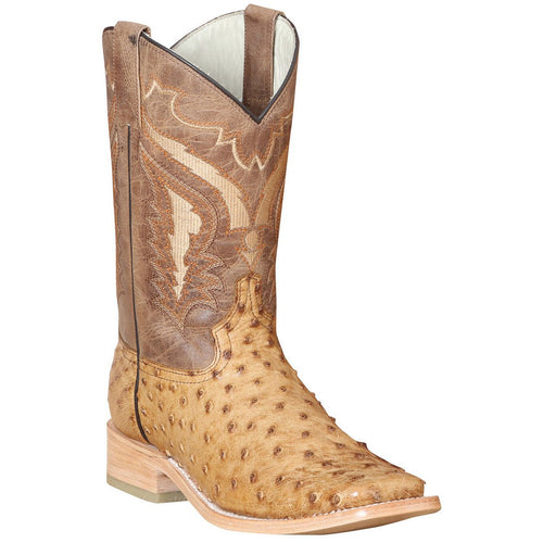Men's 100 Años Full Quill Ostrich Boots Square Toe Handcrafted - yeehawcowboy