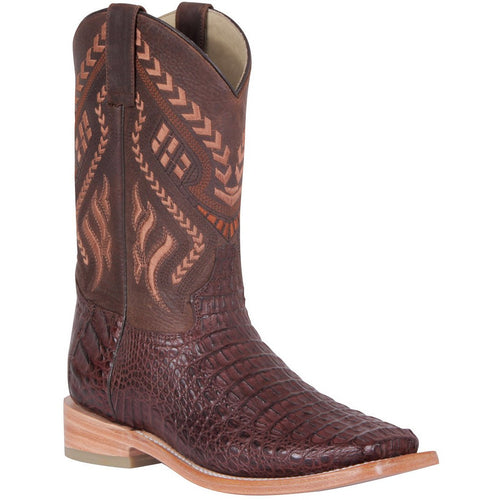 Men's 100 Años Caiman Hornback Boots Square Toe Handcrafted - yeehawcowboy