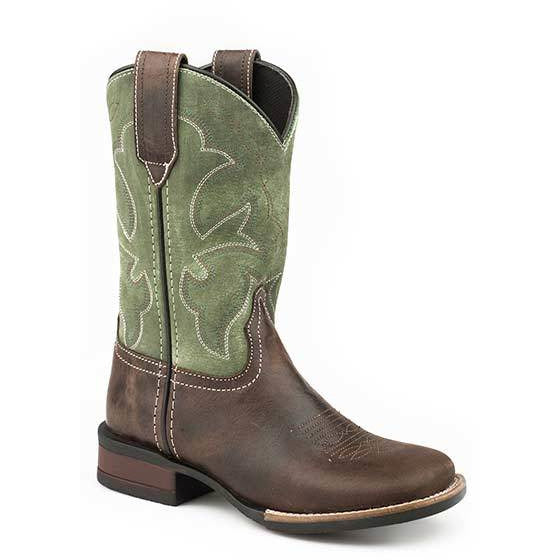 Kid's Roper Monterey Leather Boots Handcrafted - yeehawcowboy