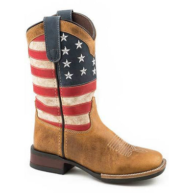 Kid's Roper Patriotism Leather Boots Handcrafted - yeehawcowboy