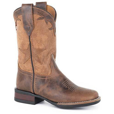Kid's Roper Monterey Star Leather Boots Handcrafted - yeehawcowboy