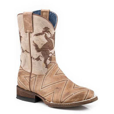 Kid's Roper Arlo Jr Leather Boots Handcrafted - yeehawcowboy