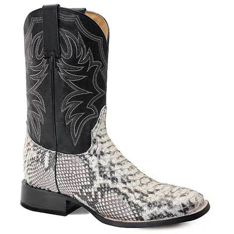 Men's Roper All In Python Rubber & Leather Outsole Exotic Boots Handcrafted - yeehawcowboy