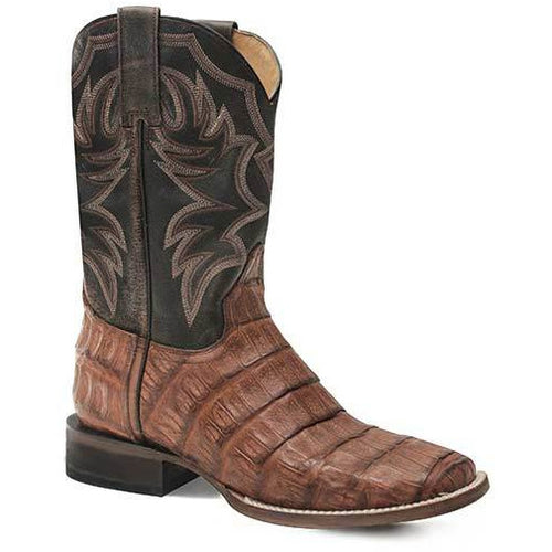 Men's Roper All In Caiman Rubber & Leather Outsole Exotic Boots Handcrafted - yeehawcowboy
