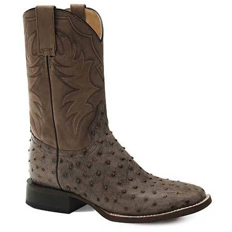 Men's Roper All In Ostrich Rubber & Leather Outsole Exotic Boots Handcrafted - yeehawcowboy