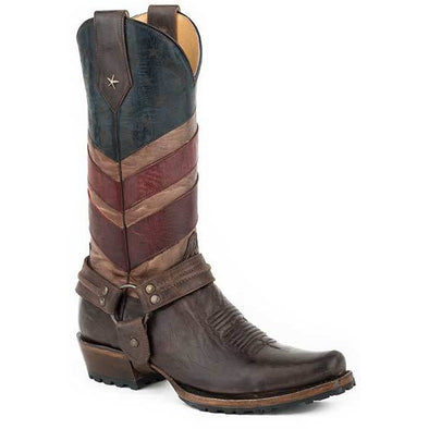 Men's Roper Old Glory Harness Biker Boots Handcrafted - yeehawcowboy