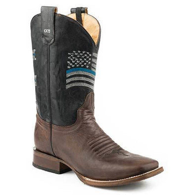 Men's Roper Thin Blue Line With Concealed Carry, Rubber & Leather Outsole Boots Handcrafted Performance System - yeehawcowboy