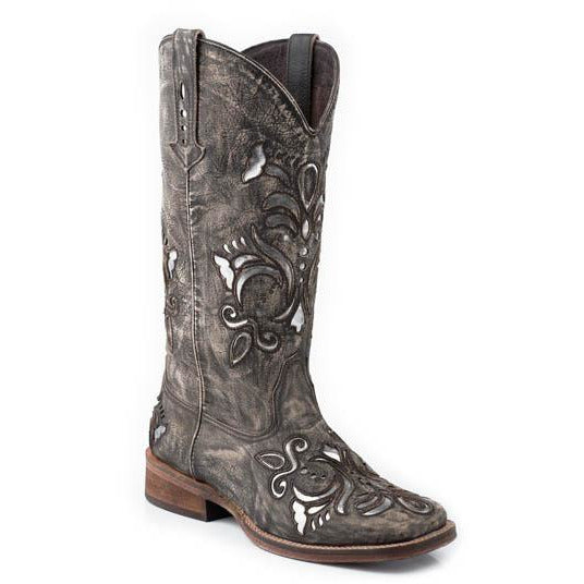 Women's Roper Belle Leather Boots Handcrafted - yeehawcowboy