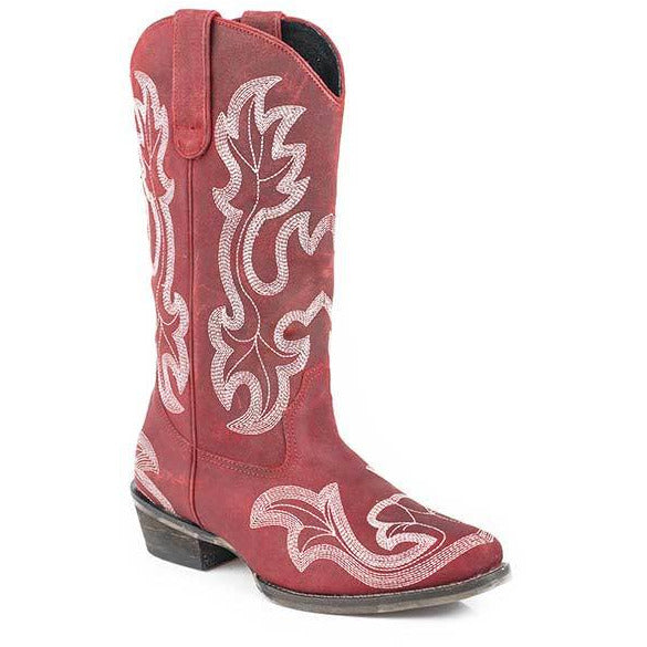 Women's Roper Scrollin Boots Handcrafted Red - yeehawcowboy