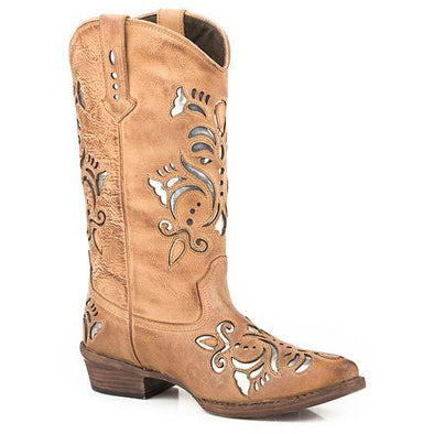 Women's Roper Belle Snip Leather Boots Handcrafted Tan - yeehawcowboy