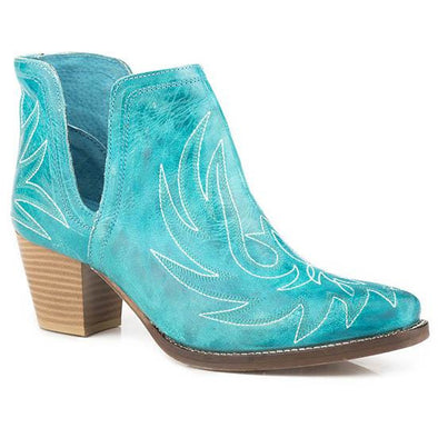 Women's Roper Rowdy Ankle Leather Boots Handcrafted Turquoise - yeehawcowboy