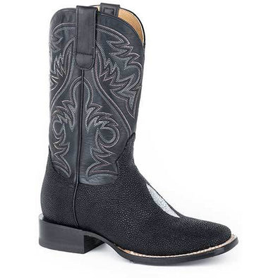 Women's Roper All In Single Stone Stingray Boots Handcrafted Black - yeehawcowboy