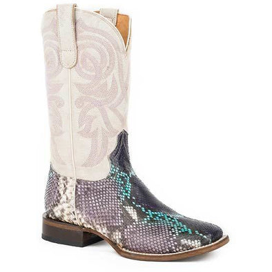 Women's Roper All In Python Rubber & Leather Outsole Exotic Boots Handcrafted - yeehawcowboy