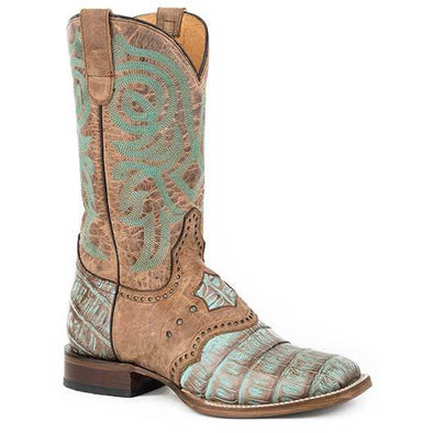 Women's Roper Deadwood Caiman Rubber & Leather Outsole Boots Handcrafted Performance System - yeehawcowboy