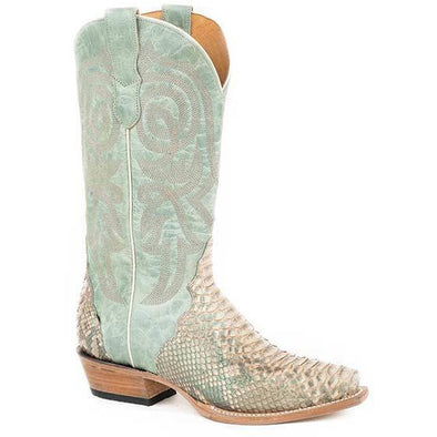 Women's Roper Trudy Triad Python Exotic Boots Handcrafted Turquoise - yeehawcowboy