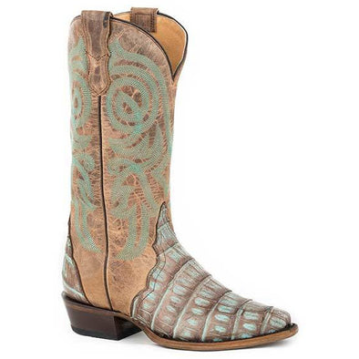 Women's Roper Trudy Triad Caiman Exotic Boots Handcrafted Copper Turquoise - yeehawcowboy