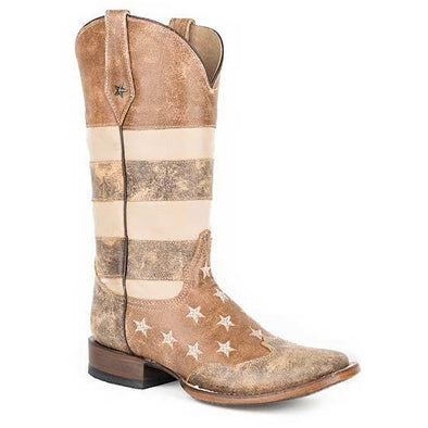 Women's Roper  Vintage Americana Flag Boots Handcrafted - yeehawcowboy