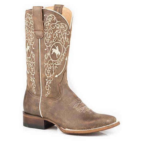 Women's Roper Amber Leather Boots Handcrafted Brown - yeehawcowboy