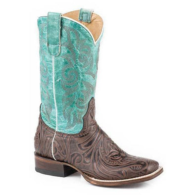 Women's Roper Florence Leather Boots Handcrafted Brown - yeehawcowboy