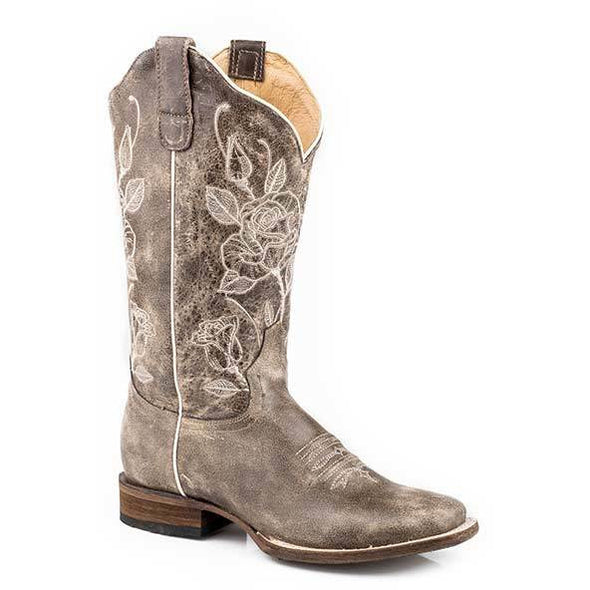 Women's Roper Desert Rose Leather Boots Handcrafted - yeehawcowboy