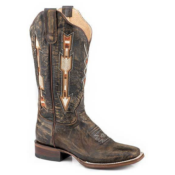 Women's Roper Arrows Leather Boots Handcrafted - yeehawcowboy