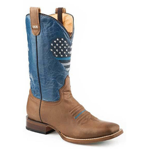 Women's Roper Thin Blue Line Heart With Concealed Carry Boots Handcrafted - yeehawcowboy