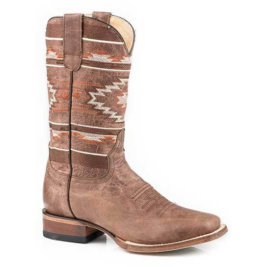 Women's Roper Fiesta Leather Boots Handcrafted Performance System - yeehawcowboy