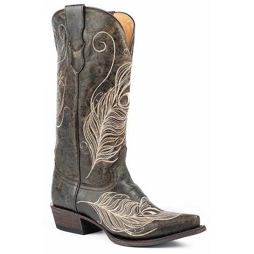 Women's Roper Feather Snip Toe  Boots Handcrafted - yeehawcowboy