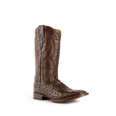 Men's Ferrini Colt Full Quill Ostrich Boots Handcrafted Chocolate - yeehawcowboy